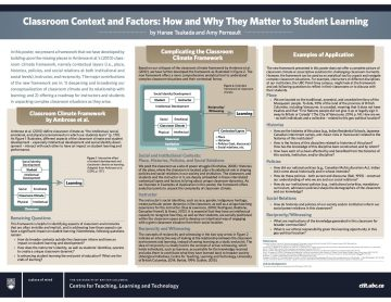 "Tsukada and Perreault's conference poster: ""Classroom Contexts and Factors: How and Why They Matter to Student Learning"""